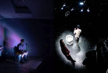 """Kairėje - scena iš spektaklio """"Bang!"""", režisierius Paulius Ignatavičius, dešinėje - scena iš spektaklio """"Žmogus iš žuvies"""", režisierė Eglė Švedkauskaitė. Fotokoliažas"""