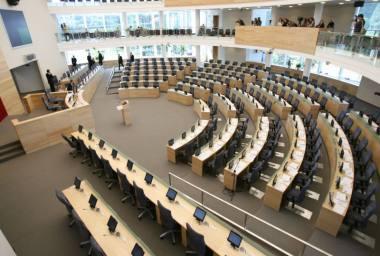 LR Seimo rūmų parteris ir scena. Nuotrauka iš MF archyvo