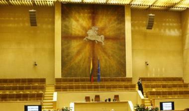 Asociatyvi iliustracija. Lietuvos Respublikos Seimo senoji posėdžių salė. Nuotrauka iš MF archyvo