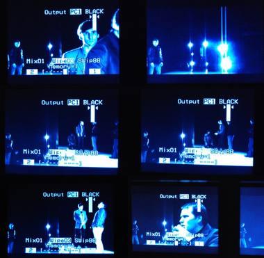 """""""Gronholmo metodas"""". Vaizdas scenoje, matomas per stebėjimo kameras. LRDT archyvas"""