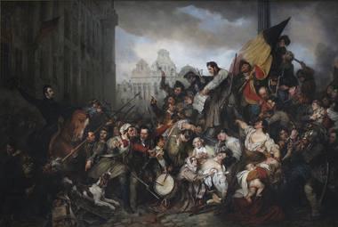 """Gustave Wappers. 1830 metų Belgijos revoliucijos epizodas. Belgų nepriklausomybė buvo iškovota po Danielio Aubero operos """"Nebylė iš Portičės"""" Briuselio """"La Monnaie"""" teatre."""