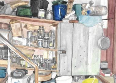 Julijos Skudutytės akvarelės fragmentas
