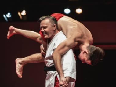 """Darius Meškauskas ir Jonas Baranauskas spektaklyje """"Antigonė"""". Kęstučio Meliausko nuotrauka"""