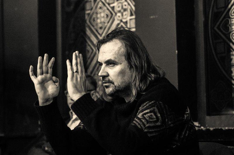 "Oskaras Koršunovas spektaklio ""Jelizaveta Bam"" repeticijoje. Tomo Ivanausko nuotrauka"