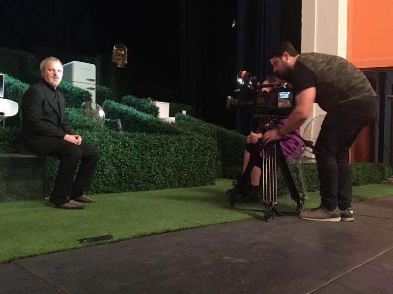 Giedrius Savickas duoda interviu Tbilisyje. LNDT archyvo nuotrauka