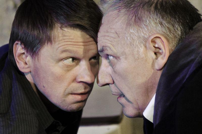 """Rolandas Kazlas ir Liubomiras Laucevičius spektaklyje """"Palata"""". Dmitrijaus Matvejevo nuotrauka"""