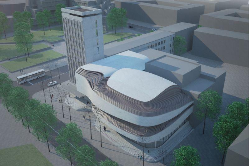 Klaipėdos valstybinio muzikinio teatro fasado vizualizacija. Iš KVMT archyvo