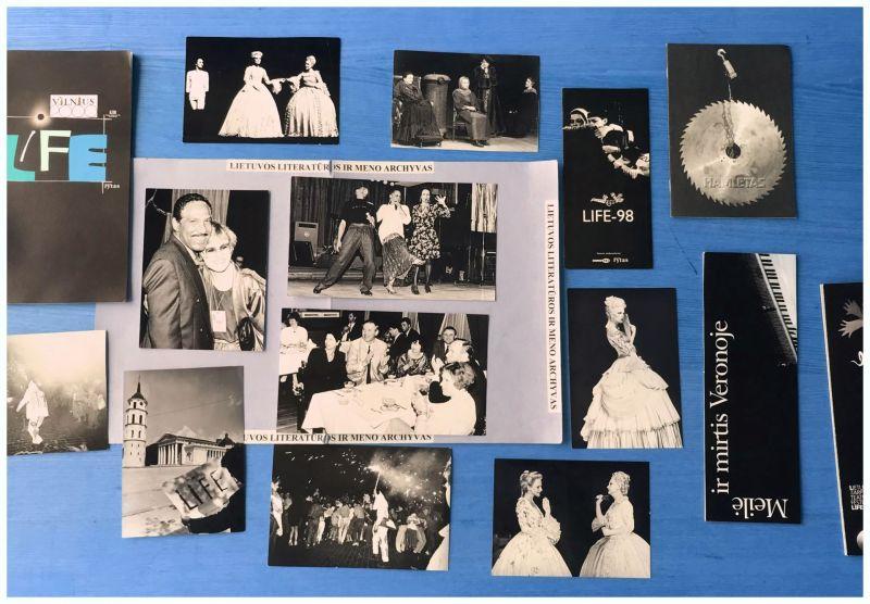 Afišos, lankstinukai, programėlės, nuotraukos iš LIFE. Nuotrauka iš Literatūros ir meno archyvo