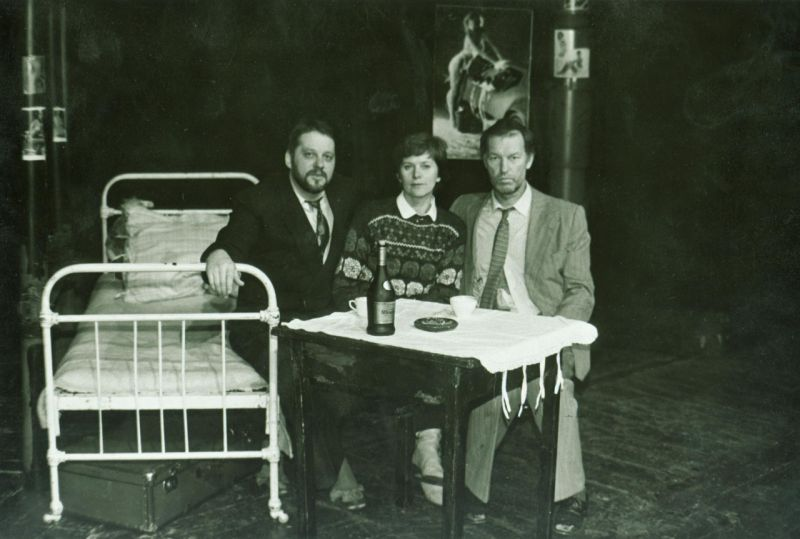 Režisierė Irena Bučienė su aktoriais Vytautu Rumšu ir Regimantu Adomaičiu. A Dūdžio nuotrauka
