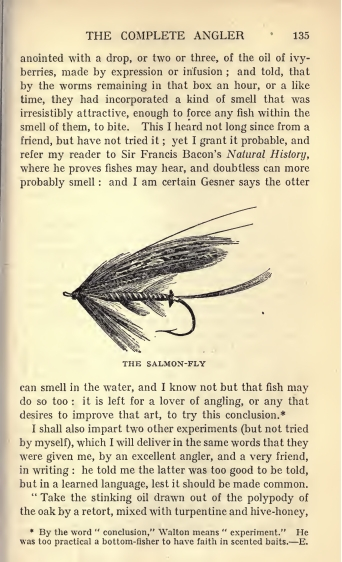 """Puslapis iš Isaako Waltono knygos """"Tobulas žvejys"""" 1890 m. laidos. Iliustracija iš http://from-bedroom-to-study.blogspot.com"""