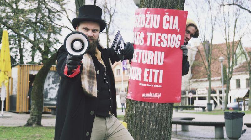 Protesto akcijos akimirka. Rengėjų archyvo nuotrauka