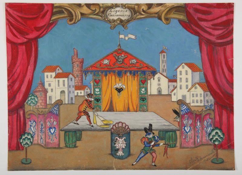 """Olga Dubeneckienė-Kalpokienė. Scenovaizdžio eskizas Molière'o pjesei """"Tariamasis ligonis"""", 1928 m., Valstybės teatras"""